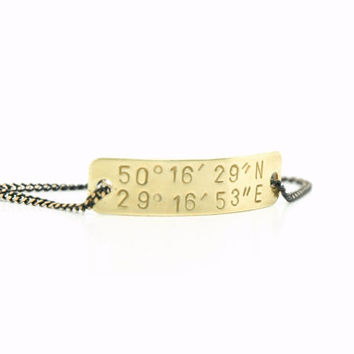 Personalized Hand Stamped Custom  Latitude and Longitude Coordinates  Bracelet  -  Brass Tag Black Brass Chain -  Long Distance Relationship