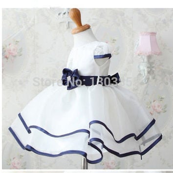 Xmas Baby  Toddler Girls Princess Birthday Party  dress Pure White Formal Gown Dress with Waistband dress