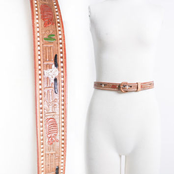 Vintage 50s Belt - Tooled Brown Leather Mexican SW PaintedWaist Belt 60s - Small / XS