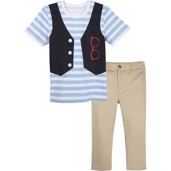 G-Cutee Baby Toddler Boys' Short Sleeve Tee, Vest, and Pant 3pc Set - Walmart.com