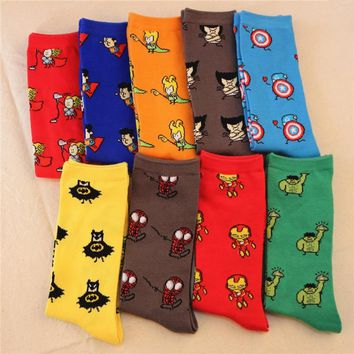 New fashion lovers personalized Avengers Socks DC series Superman Batman Captain America cartoon odd future happy socks