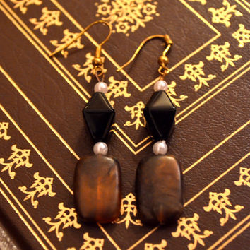 Black, Brown, and White Earrings #1091