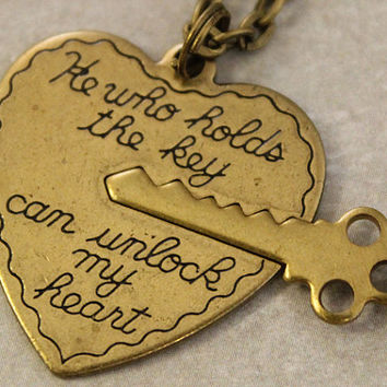 Key to My Heart Necklaces - His and Her Necklaces - He Who Holds the Key Can Unlock My Heart - Boyfriend Girlfriend Gift - 2 Necklaces