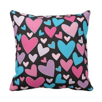 Cute Girly Blue Pink & Purple Hearts Throw Pillow- Valentine's Day hearts pillow, girly pillows, pillows for girls, for teens, home decor