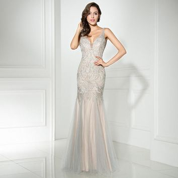 Charming Sexy long Evening Dresses 2017 with Mermaid V neck Sexy Back Hollow Zipper Floor Length tulle Beading Dresses LX304