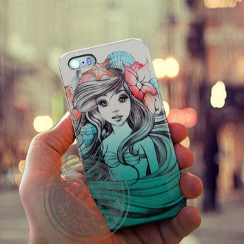 Beautiful Ariel Little Mermaid Case for Iphone 4, 4s, Iphone 5, 5s, Iphone 5c, Samsung Galaxy S3, S4, S5, Samsung Galaxy Note 2, Note 3.