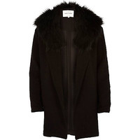 River Island Womens Black textured relaxed faux fur jacket