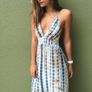 Your Love Maxi Dress - Blue/Brown