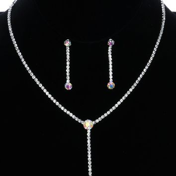 Faceted Round Aurora Rhinestone Y Wedding Formal  Necklace Earring Set