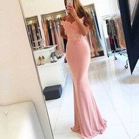 Off Shoulder Pink Mermaid Prom Dresses,Prom Dress