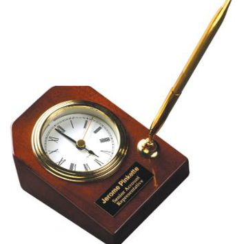 """Rosewood Piano Finish Desk Clock with Pen 3 5/8"""" x 4 3/4"""""""