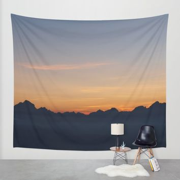 Mountain Range Silhouette Wall Tapestry by Mixed Imagery