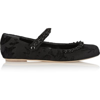 Simone Rocha - Embellished flocked brocade Mary Jane flats