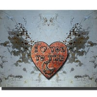 I Love You to the Moon poster, mixed media copper heart with splattered wings, rocker art, typography art, choice of print sizes and finish