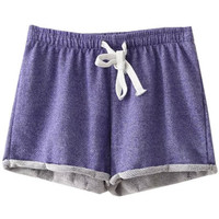 Purple Elastic Waist Turned Edge Terry Shorts
