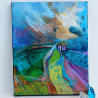 "Abstract Landscape Painting on Small Canvas Contemporary Modern ""Alone and Yet"""