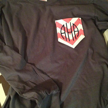 Long Sleeve Monogramed Fabric Pocket T's