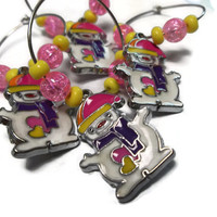Pink Christmas Snowman Wine Charm Rings Napkin Rings Home Decor Pink Yellow Purple Ornaments