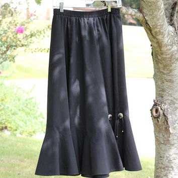 Solid Black Prairie Skirt with Silver Conch Medallions | Ladies Long Mid-Calf Black Square Dance Skirt | Malco Modes Size M | Western Skirt