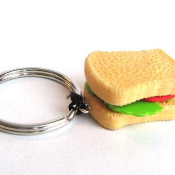 Sandwhich Keychain   Toy Keychain   Toy Zipper Pull   Kawaii Keychain   Kitsch Keychain   Gag Gift   Gifts Under 10   Miniature Food