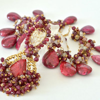 Ruby and Sapphire Necklace by luxurybyvera on Etsy