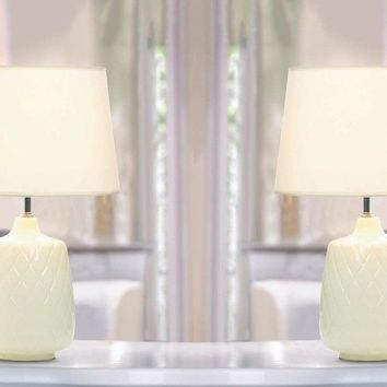 Set of 2 Quilted Diamonds Table Lamps