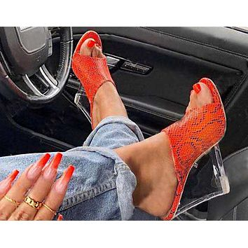 Fashion Ladies Sandals Summer New Open-toed Crystal Slope-heeled Fishmouth High-heeled Shoes 6 Colors