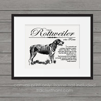 Rottweiler (Rottie) Storybook Style Canvas Print: Dog, Wall Art, Rustic, Vintage, Antique, Decor, Artwork, DIY, Breed, Gift