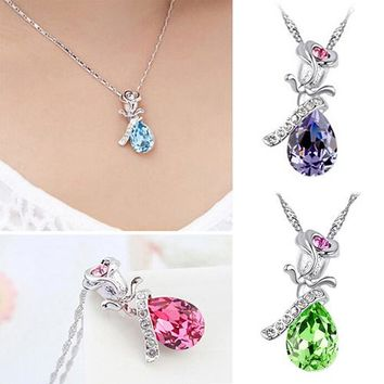 Rose Tear Drop  Rhinestone  Charm Necklace