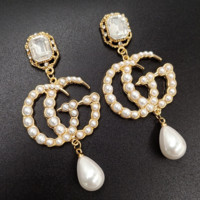 GUCCI New Fashion Diamond Pearl Letter Earrings Gold