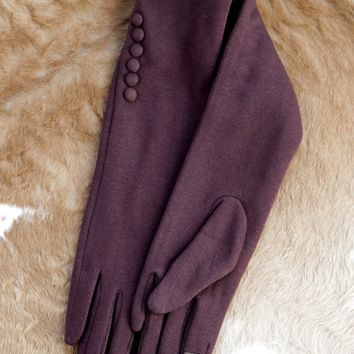 Long Button Gloves, Brown