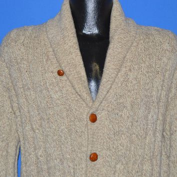70s Timber Valley Cable Knit Wool Cardigan Sweater Medium