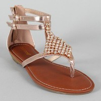 Bamboo Wonderful-13 Metallic Rhinestone Gladiator Flat Sandal