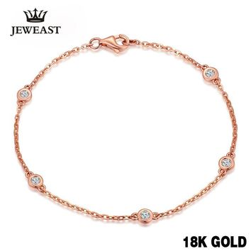 18k Pure Rose Gold Natural Bracelet Women Fashion Bangle Romantic Female Jewelry Girl Gift Party Trendy Hot Sale Good