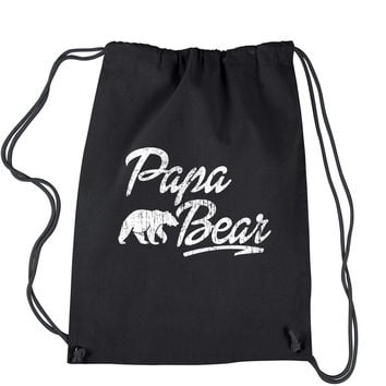Papa Bear Vintage Distressed Drawstring Backpack