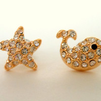 Set of Starfish and Whale Earring Stud, Gold Filled
