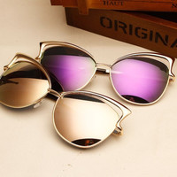 Fashion cat's eye sunglasses for women hollow metal reflective glasses