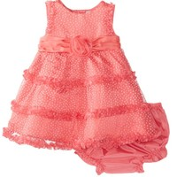Rare Editions Baby Baby-Girls Newborn Flocked Dot Mesh Dress, Coral, 6 Months
