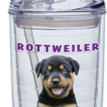 Culver Keith Kimberlin Insulated Plastic Tumbler with Push on Lid and Straw, 15-Ounce, Rottweiler