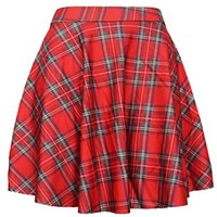 Women's Girls Casual High Waist Slim Plaid Flared Pleated Skirt