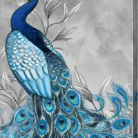 Peacock Botanical 1 Animal Canvas Wall Art Print by Nicole Tamarin