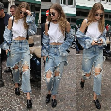 Casual Irregular Ripped Worn Tassel High Waist Flared Jeans Trousers False Two-Piece Denim Skirt Pants