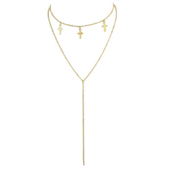 Gold Multi Layers Chain With Cross Charm Geometric Pattern Pendant Necklace