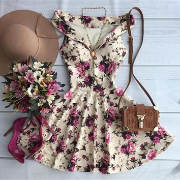 Summer Vintage Floral Print Dress For Cute Girl 2017 Fashion Sexy Women V-neck Sleeveless Party Mini Dress Flowers Vestidos