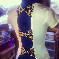 Leopard Bow back Tee