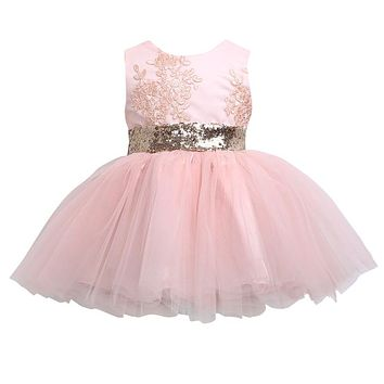 New Pricess Dress Kids Baby Girl Sequins Boknot Party Girls Dresses Ball Gown Costume