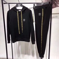 """Chanel"" Women Casual Embroidery Letter Stripe Webbing Hooded Long Sleeve Sweater Trousers Set Two-Piece Sportswear"