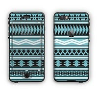 The Vector Blue & Black Aztec Pattern V2 Apple iPhone 6 Plus LifeProof Nuud Case Skin Set