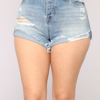 Festival Fun Denim Shorts - Medium Blue Wash