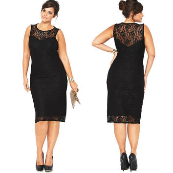 Plus Size Black Lace Sleeveless Scoop Knee-Length Dress
